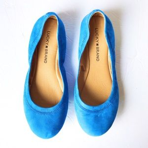 Lucky Brand Emmie Blue Suede Ballet Flats
